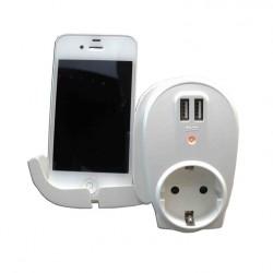 Base schuko con soporte para móviles