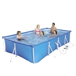 Piscina  azul rectangular con hidrobomba 400x211x81