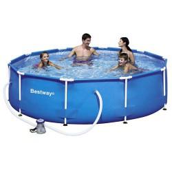 Piscina  redonda azul con hidrobomba 305x76