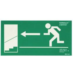 Cartel Salida Emergencia Escalera Izquierda Abajo 21x30