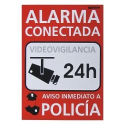Cartel alarma conectada policía
