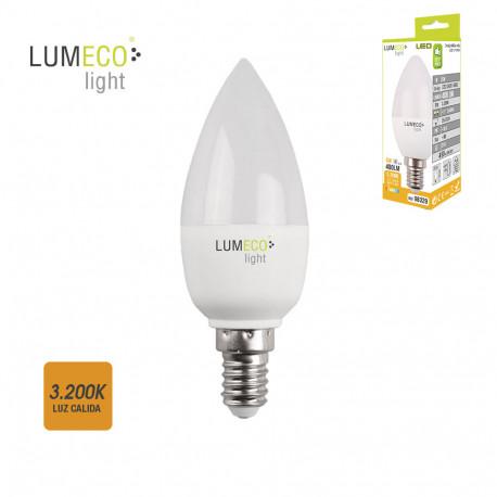 Bombil led 5W E-14 vela luz cálida Lumeco